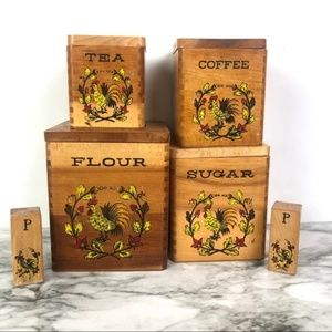 Vintage Wooden Rooster Nesting Canisters (4)